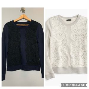 J. CREW | lace sweatshirt navy black small s